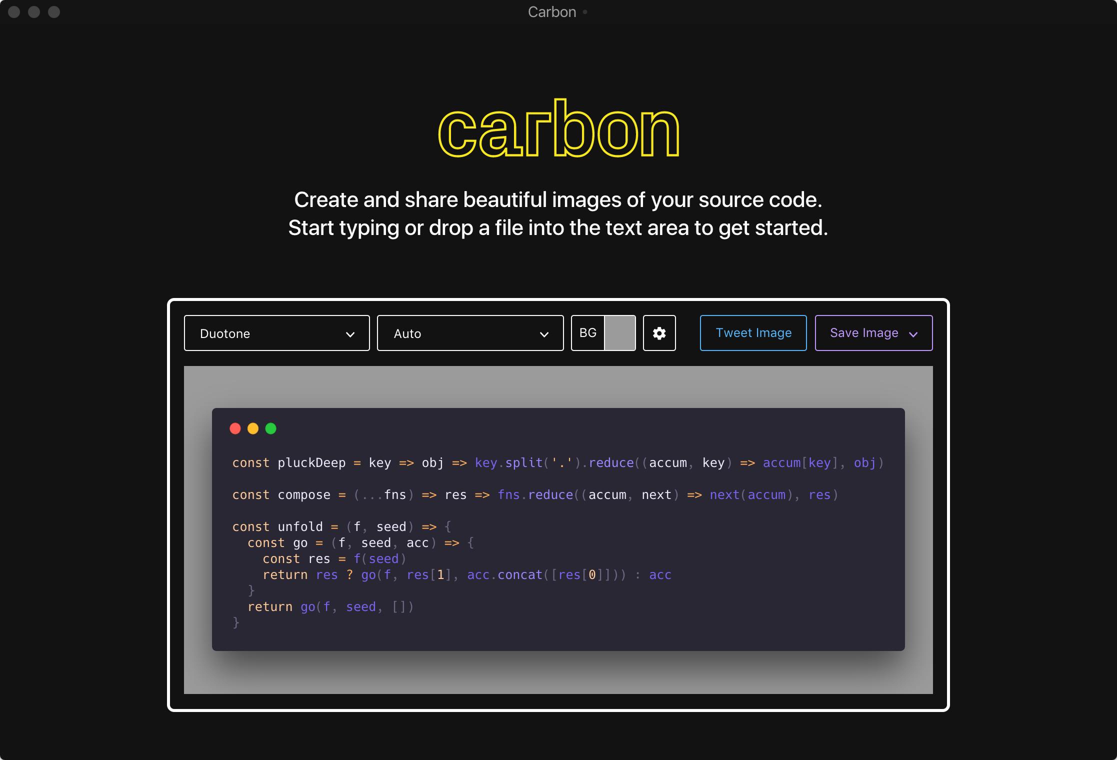Screenshot of carbon.now.sh